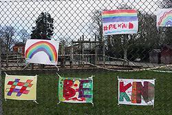 Supportive artwork outside primary school during Coronavirus pandemic, Tilehurst, Reading, UK March 2020