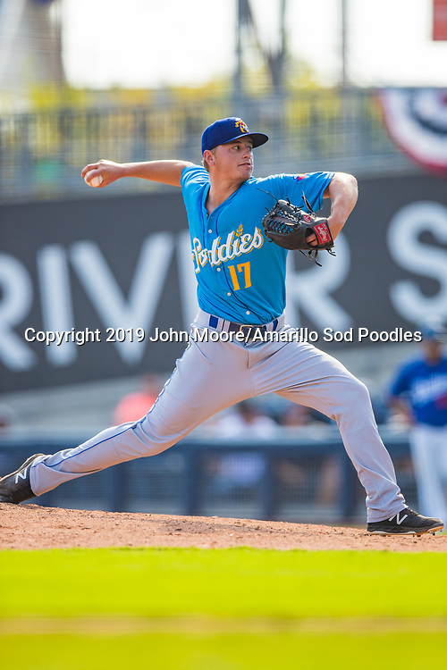 Amarillo Sod Poodles pitcher Evan Miller (17) pitches against the Tulsa Drillers during the Texas League Championship on Sunday, Sept. 15, 2019, at OneOK Field in Tulsa, Oklahoma. [Photo by John Moore/Amarillo Sod Poodles]