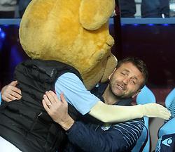 Aston Villa Manager, Tim Sherwood shares a hug with the Aston Villa mascot - Photo mandatory by-line: Robbie Stephenson/JMP - Mobile: 07966 386802 - 07/04/2015 - SPORT - Football - Birmingham - Villa Park - Aston Villa v Queens Park Rangers - Barclays Premier League