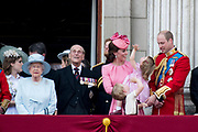 Trooping the Colour is a ceremony performed by regiments of the British and Commonwealth armies and as also marked the official birthday of the British sovereign, Queen Elizabeth.It is held in London annually on a Saturday in June on Horse Guards Parade by St. James's Park<br /> <br /> On the photo:  Queen Elizabeth II and Prince Philip, Duke of Edinburgh<br /> Prince William, Catherine, Kate, Duchess of Cambridge and Prince George and Princess Charlotte