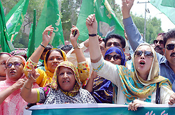 August 2, 2017 - Hyderabad, Pakistan - Activists of Muslim League (PML-N) are holding .protest demonstration in favor of former Prime Minister Muhammad Nawaz Sharif, at Hyderabad press club. (Credit Image: © PPI via ZUMA Wire)