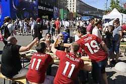 May 26, 2018 - Kiev, Ukraine - Liverpool fans gather in Maidan Square, Kiev, Ukraine,  prior to the UEFA Champions League Final between Real Madrid and Liverpool at NSC Olimpiyskiy Stadium on May 26, 2018 in Kiev, Ukraine. (Credit Image: © Maxym Marusenko/NurPhoto via ZUMA Press)