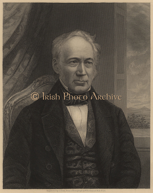 Andrew Ure (1778-1857), Scottish chemist and scientific writer born in Glasgow.  His 'Dictionary of Chemistry' appeared in 1821.  He also wrote on manufactures and industrial processes.  From James Sheridan Muspratt 'Chemistry' (London, c1860). Engraving.
