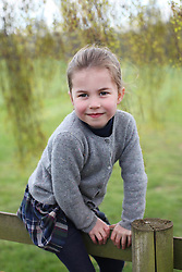 EMBARGOED UNTIL 2230 BST WEDNESDAY MAY 1, 2019. Copyright: Duke and Duchess of Cambridge. NEWS EDITORIAL USE ONLY. NO COMMERCIAL USE. NO MERCHANDISING, ADVERTISING, SOUVENIRS, MEMORABILIA or COLOURABLY SIMILAR. NOT FOR USE AFTER 31 DECEMBER, 2019, WITHOUT PRIOR PERMISSION FROM KENSINGTON PALACE. This photograph is provided to you strictly on condition that you will make no charge for the supply, release or publication of it and that these conditions and restrictions will apply (and that you will pass these on) to any organisation to whom you supply it. There shall be no commercial use whatsoever of the photographs (including by way of example only) any use in merchandising, advertising or any other non-news editorial use. The photographs must not be digitally enhanced, manipulated or modified in any manner or form and must include all of the individuals in the photograph when published. All other requests for use should be directed to the Press Office at Kensington Palace in writing. MANDATORY CREDIT: The Duchess of Cambridge. Undated handout photo of Princess Charlotte taken by her mother, the Duchess of Cambridge, at their home in Norfolk in April, to mark her fourth birthday on Wednesday.