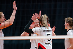 Kim Klein Lankhorst of Apollo 8 in action during the cupfinal between Laudame Financials VCN vs. Apollo 8 on April 05, 2021 in sports hall MartiniPlaza, Groningen