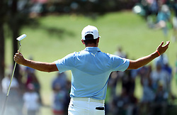 April 6, 2018 - Augusta, GA, USA - Rickie Fowler after his putt for a par on six  during the second round of the Masters Tournament Friday, April 6, 2018, at Augusta National Golf Club on Friday, April 6, 2018, in Augusta, Ga. (Credit Image: © Jason Getz/TNS via ZUMA Wire)