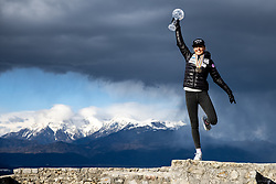Anamarija Lampic at photoshoot with crystal globe for winning Sprint World Cup and medals from FIS Nordic World Ski Championships Oberstdorf 2021, on March 17, 2021 in Stari grad, Smlednik, Slovenia. Photo by Matic Klansek Velej / Sportida