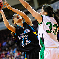 031213  Adron Gardner/Independent<br /> <br /> Navajo Prep Eagle Hannah Antone (22), left, shoots around Texico Wolverine Brianna Reyna (33) during the 2A New Mexico High School Basketball tournament quarterfinals at the Santa Ana Star Center in Rio Rancho Tuesday.
