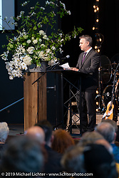 Arlen's son Cory Ness spoke before the large crowd at the Arlen Ness Memorial - Celebration of Life at the CrossWinds Church, Livermore, CA, USA. Saturday, April 27, 2019. Photography ©2019 Michael Lichter.