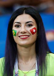 June 17, 2018 - Rostov Do Don, Rússia - ROSTOV DO DON, RO - 17.06.2018: BRAZIL VS SWITZERLAND - Fans with face painted during match between Brazil and Switzerland valid for the first round of group E of the 2018 World Cup held at the Rostov Arena in Rostov on Don, Russia. (Credit Image: © Marcelo Machado De Melo/Fotoarena via ZUMA Press)