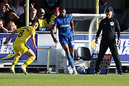 AFC Wimbledon striker Jake Jervis (10) dribbling during the EFL Sky Bet League 1 match between AFC Wimbledon and Oxford United at the Cherry Red Records Stadium, Kingston, England on 29 September 2018.