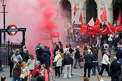 © Licensed to London News Pictures. 01/05/2019. London, UK. Hundreds of demonstrators marched from Clerkenwell Green to Trafalgar Square to mark the annual May Day Rally on International Workers' Day. Labour Day in some countries and often referred to as May Day, is a celebration of labourers and the working classes that is promoted by the international labour movement which occurs every year on May Day (1 May), an ancient European spring festival. Photo credit: Dinendra Haria/LNP