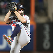 NEW YORK, NEW YORK - SEPTEMBER 26:    Pitcher R.A. Dickey #19 of the Atlanta Braves pitching during the Atlanta Braves Vs New York Mets MLB regular season game at Citi Field, Flushing, Queens, on September 26, 2017 in New York City. (Photo by Tim Clayton/Corbis via Getty Images)