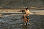 Kazakh eagle hunter crossing river<br /> Mongolia's largest ethnic minority<br /> Altai Mountains<br /> Western Mongolia