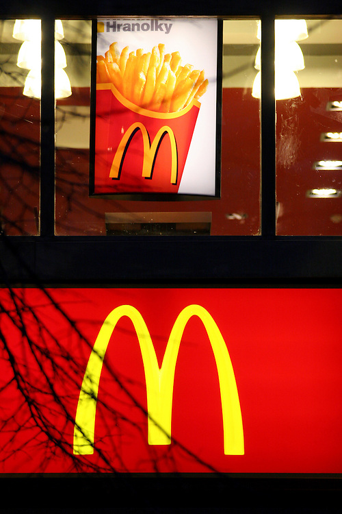 Mc Donalds branch located at the downer Wenceslas Square. The Czech word HRANOLKY means translated French fries.