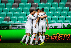 NK Rudar celebrating during football match between NK Olimpija Ljubljana and NK Rudar Velenje in 25rd Round of Prva liga Telekom Slovenije 2018/19, on April 7th, 2019 in Stadium Stozice, Slovenia Photo by Matic Ritonja / Sportida
