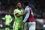 Raheem Sterling of Manchester city jokes with Micah Richards of Aston Villa (r). Barclays Premier league match, Aston Villa v Manchester city at Villa Park in Birmingham, Midlands  on Sunday 8th November 2015.<br /> pic by  Andrew Orchard, Andrew Orchard sports photography.