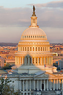 USA, Washington, D.C. The shadow of the Library of Congress (Jefferson Building) cast upon the U.S. Capitol Building in the morning.