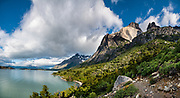 Los Cuernos Refugio & Camping are at the base of the striking cluster of peaks called Los Cuernos del Paine, or the Horns of Paine. Torres del Paine National Park is listed as a World Biosphere Reserve by UNESCO, located in Ultima Esperanza Province, Chile, Patagonia, South America. This image was stitched from multiple overlapping photos.