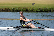 """Henley on Thames, United Kingdom, 24th June 2018, Sunday, """"Henley Women's Regatta"""", view, Junior,Women's Single Sculler, Phoebe MUIR, look's for the finishing line, Henley Reach, River Thames, Thames Valley, England, © Peter SPURRIER/24/06/2018"""