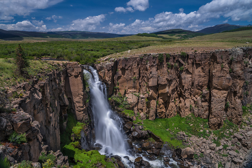North Clear Creek falls, Silver Thread Scenic Byway, in summer, Rio Grande National Forest, Lake City, CO