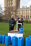 Lilian Greenwood MP and Mr Modasia. Marking World Water Day, over 40 MP's walked for water at Westminster, London at an event organised by WaterAid and Tearfund. Globally hundreds of thousands of people took part in the campaign to raise awareness of the world water crisis.