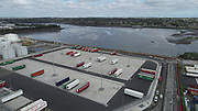 Aerial Still images around Dublin Port during COVID 19 lockdown, Stenna, CLdN, P&O, Cobbelfreight, Tolka Quay, Alexander Rd, Terminal 1,2 ,3, River Liffey, EXO, Building, East Link, Bridge, River Liffey, Samual Beckett Bridge, Capitol Dock, North Quay, Wall, Clontarf, Fairview,