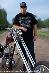 Paul Yaffe with his custom Triumph chopper on location after a studio shoot. Boulder, CO, USA. Thursday, May 16, 2019. Photography ©2019 Michael Lichter.