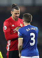 Zlatan Ibrahimovic of Manchester United and Leighton Baines of Everton during the Premier League match at Goodison Park, Liverpool. Picture date: December 4th, 2016.Photo credit should read: Lynne Cameron/Sportimage