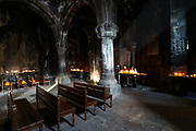 The Monastery of Geghard pictured on Sunday, Dec 27, 2020 - with its remarkable rock-cut churches and tombs, is an exceptionally well preserved and complete example of medieval Armenian monastic architecture and decorative art, with many innovatory features which had a profound influence on subsequent developments in the region.  (Photo/ Vudi Xhymshiti)