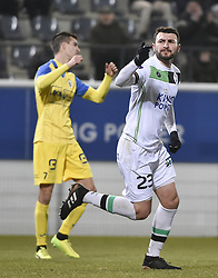 February 17, 2018 - Leuven, BELGIUM - OHL's Jovan Kostovski celebrates after scoring during a soccer game between OH Leuven and KFCO Beerschot Wilrijk, in Heverlee, Leuven, Saturday 17 February 2018, on day 27 of the division 1B Proximus League competition of the Belgian soccer championship. BELGA PHOTO BRUNO FAHY (Credit Image: © Bruno Fahy/Belga via ZUMA Press)
