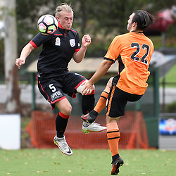 BRISBANE, AUSTRALIA - DECEMBER 10: Zakariah Waters of Adelaide United and Nicholas D'Agostino of the Roar compete for the ball during the round 5 Foxtel National Youth League match between the Brisbane Roar and Adelaide United at AJ Kelly Field on December 10, 2016 in Brisbane, Australia. (Photo by Patrick Kearney/Brisbane Roar)