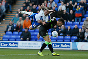 James Norwood of Tranmere Rovers  climbing on Forest Green Rovers Liam Shephard(2) during the EFL Sky Bet League 2 play off first leg match between Tranmere Rovers and Forest Green Rovers at Prenton Park, Birkenhead, England on 10 May 2019.