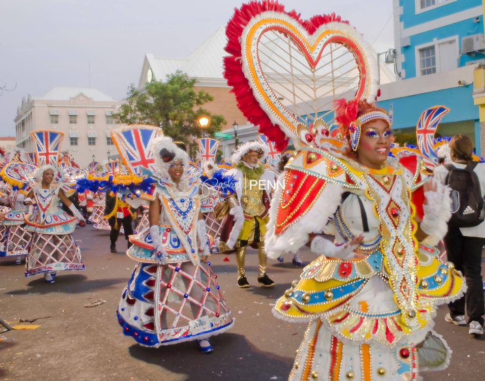 Boxing Day Junkanoo on Bay street on the Island of New Providence in the Bahamas. The capitol city of Nassau. The Bahamas yearly festival.