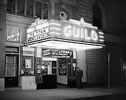 Y-500501-2 Guild Theatre façade at night, film is Michelangelo. SW 9th & Taylor. May 1, 1950