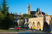People relaxing in park by famous cathedral and Puente Romano bridge, Salamanca, Spain