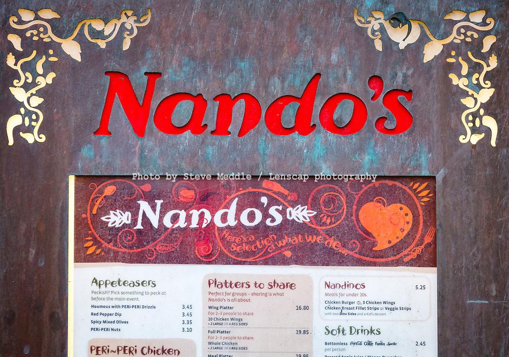Nando's Restaurant Menu and Sign - May 2014.