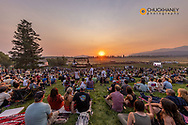 Big Mountain stage at sunset at the Under The Big Sky Music Festival in Whitefish, Montana, USA