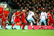 Dimitri Payet of West Ham United takes a free kick and scores his teams 1st goal. Premier League match, Liverpool v West Ham Utd at the Anfield stadium in Liverpool, Merseyside on Sunday 11th December 2016.<br /> pic by Chris Stading, Andrew Orchard sports photography.
