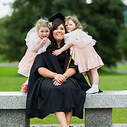 """25.08.2016          <br />  Faculty of Business, Kemmy Business School graduations at the University of Limerick today. <br /> <br /> Attending the conferring was Graduate Diploma in Nursing (Respiratory Care) graduate, Martha Dillon, Crusheen Co. Clare pictured with her children Saoirsre and Cara Dillon. Picture: Alan Place.<br /> <br /> <br /> As the University of Limerick commences four days of conferring ceremonies which will see 2568 students graduate, including 50 PhD graduates, UL President, Professor Don Barry highlighted the continued demand for UL graduates by employers; """"Traditionally UL's Graduate Employment figures trend well above the national average. Despite the challenging environment, UL's graduate employment rate for 2015 primary degree-holders is now 14% higher than the HEA's most recently-available national average figure which is 58% for 2014"""". The survey of UL's 2015 graduates showed that 92% are either employed or pursuing further study."""" Picture: Alan Place"""