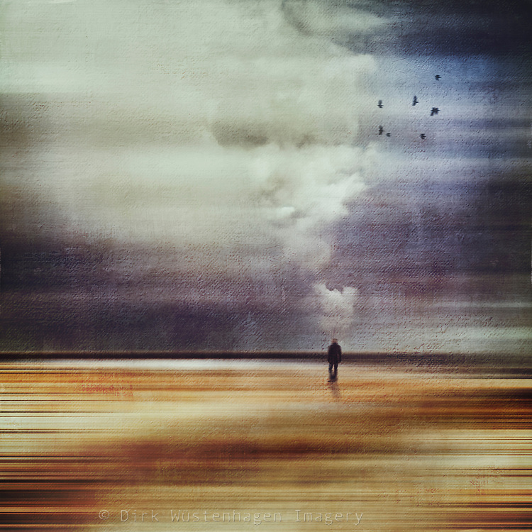 Abstract landscape with a figure leaving - manipulated photograph