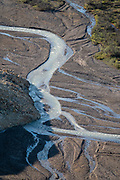 Views of a braided river from Polychrome Overlook. Denali National Park, Alaska, USA.