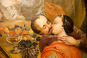 Kiss painting detail Blumenthal Room, Kode 3 art gallery Bergen, Norway paintings by Mathias Blumenthal, 1760