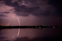 Thunderstorm in the Tisza lake in Hortobagy National Park, Hungary