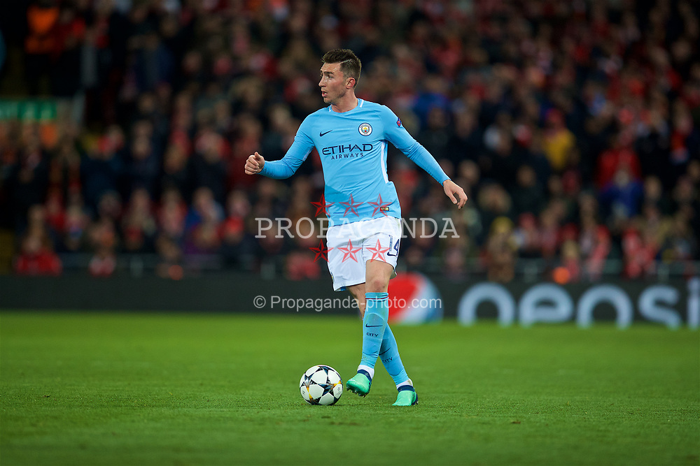 LIVERPOOL, ENGLAND - Wednesday, April 4, 2018: Manchester City's Aymeric Laporte during the UEFA Champions League Quarter-Final 1st Leg match between Liverpool FC and Manchester City FC at Anfield. (Pic by David Rawcliffe/Propaganda)