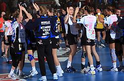 Metz celebrates at handball match of 2nd Round of EHF Women`s Championsleague between RK Krim Mercator (SLO) and Metz Handball (FRA), in Arena Kodeljevo, Ljubljana, Slovenia, on November 9, 2008. Metz  won match against RK Krim Mercator with 31:26.