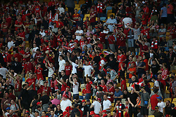 May 26, 2018 - Kiev, Ukraine - Real Madrid and Liverpool FC fans and supporters entertain at NSC Olipiyskyi stadium in Kyiv, Ukraine, May 26, 2018 before the UEFA Champions League Final kicks off. (Credit Image: © Sergii Kharchenko/NurPhoto via ZUMA Press)