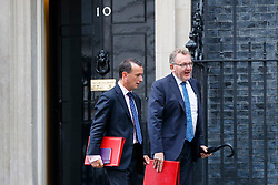 © Licensed to London News Pictures. 27/06/2017. London, UK. Welsh Secretary ALUN CAIRNS and Scottish Secretary DAVID MUNDELL attend a cabinet meeting in Downing Street, London on Tuesday, 27 June 2017. Photo credit: Tolga Akmen/LNP