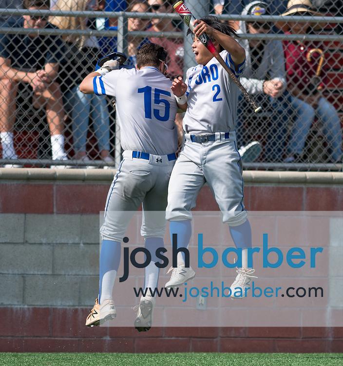 El Toro's Josh Zamora and Kenny Oyama during the CIF-SS Division 1 Baseball Semifinal: El Toro v Mater Dei at Mater Dei High School on Tuesday, May 30, 2017 in Santa Ana, California. (Photo/Josh Barber)