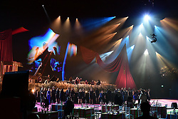 The Lewisham and Greenwich NHS Choir perform with P!nk and Rag'n'Bone Man during the Brit Awards 2021 at the O2 Arena, London. Picture date: Tuesday May 11, 2021.